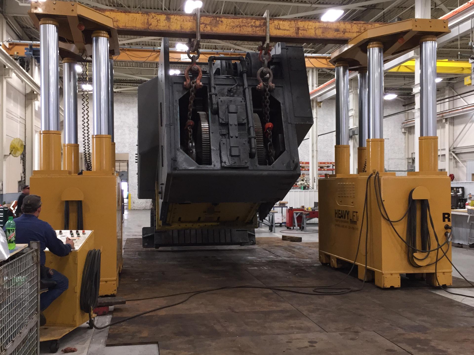 Laying down a 800-ton Gap Frame Press.