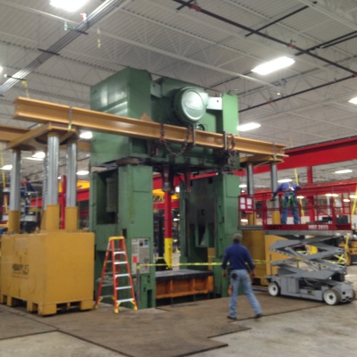 Placing crown on 600-ton Press.