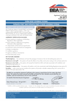 Fatra PVC Membrane Waterproofing Sustainable Performance BBA