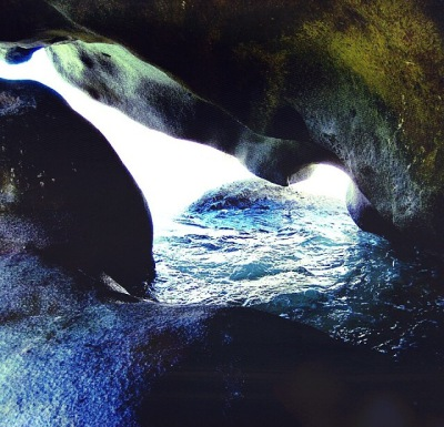 cave, blue, green, water, mermaid, light