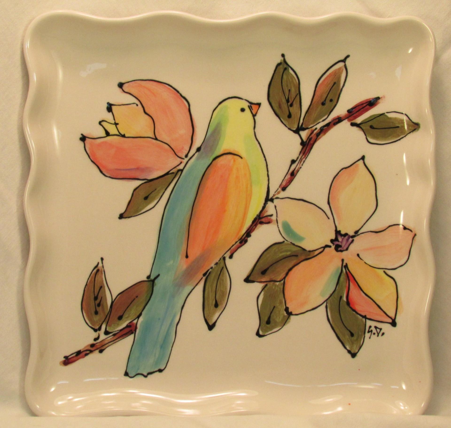 Birds & Magnolias Square Plate