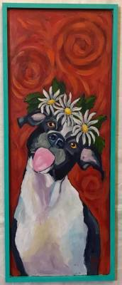 Mutt with Attitude and Daisies