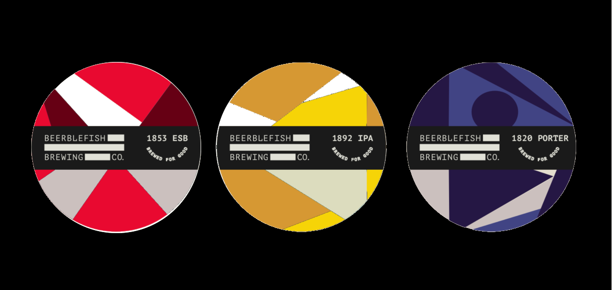 1800 range pumpclip mockups, red green and purple abstract shapes