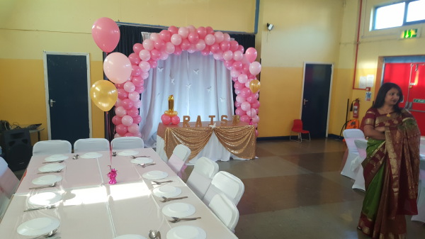 Cake table with balloon arch and spotlight!!!