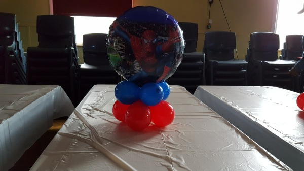 Spiderman Balloon centrepiece (low)