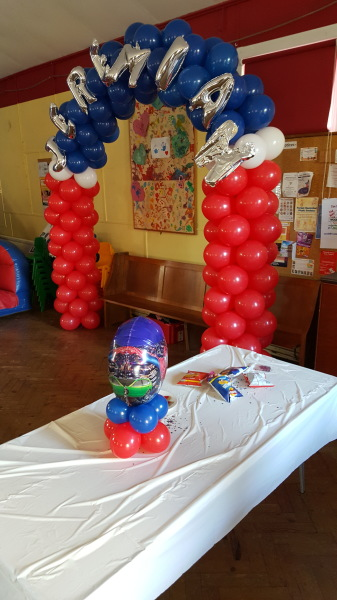 Spiderman themed party with name on arch!! HBD