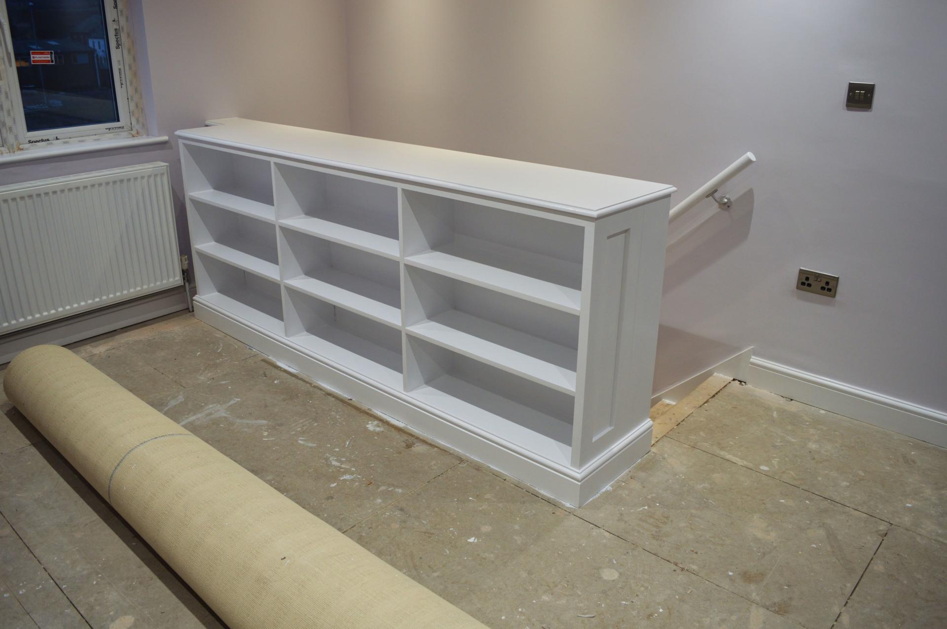 painted shelving unit