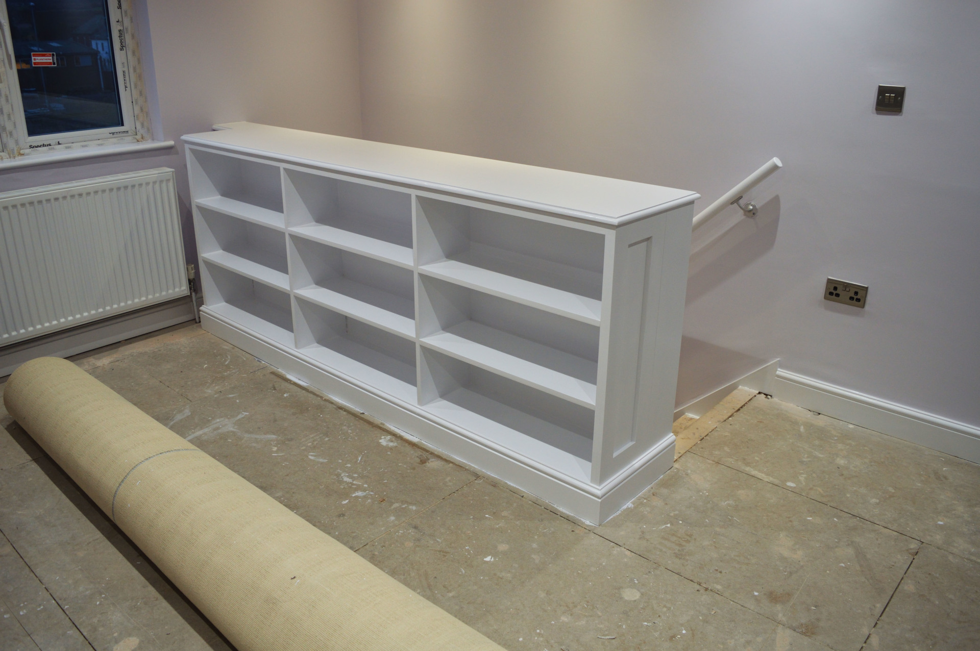 painted shelving unit