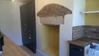 painted fireplace with feature wall colours