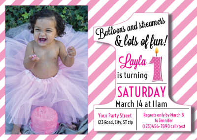 1st Birthday customizable invite