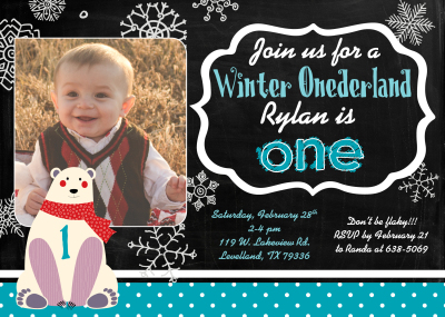 Winter Onederland birthday invite