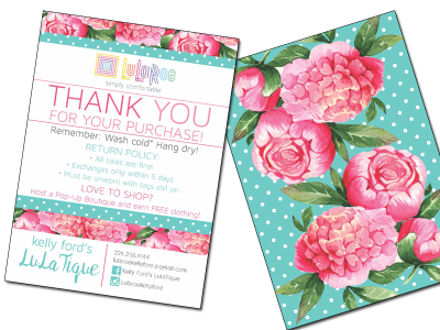 Lularoe Thank you front & back (Marketing materials)