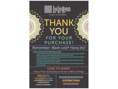 Lularoe Thank you Card