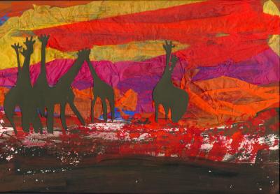 Cut-paper Giraffes