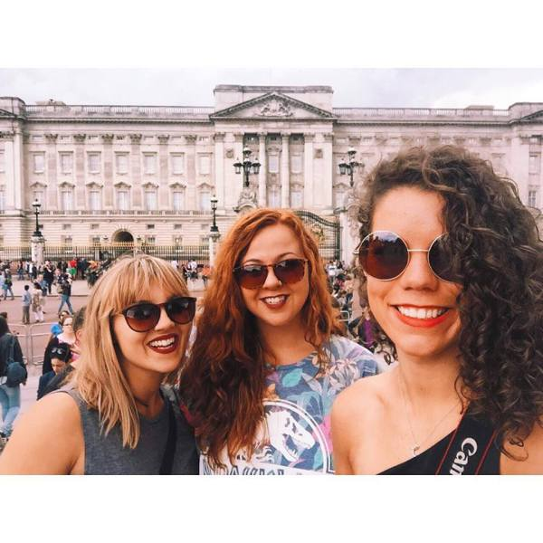 Georgia, Samantha, and I in front of the Palace.
