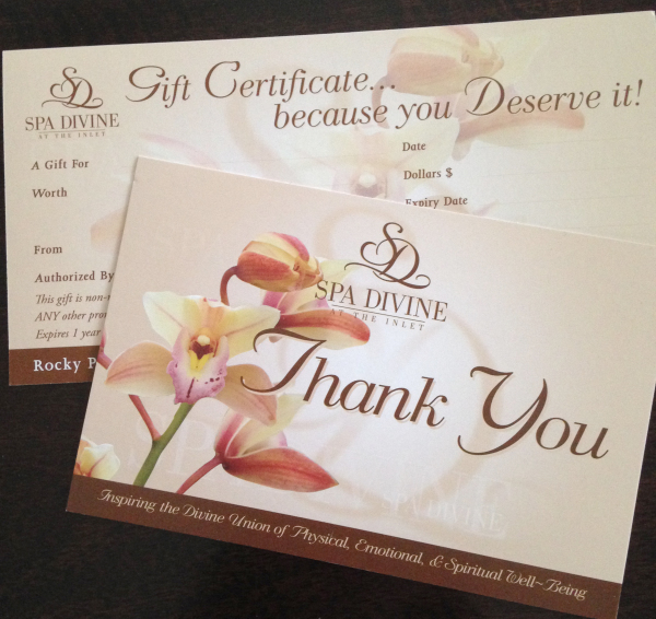 Gift Certificates & Thank you cards