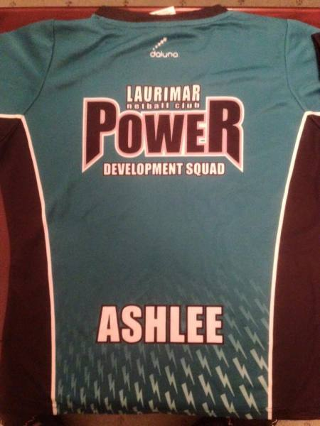Teal Training Top Back with Name Printed - $35