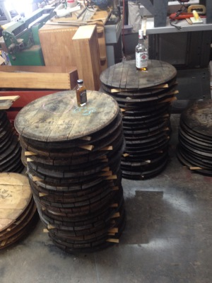 Reclaimed barrel heads waiting to become a new guitar