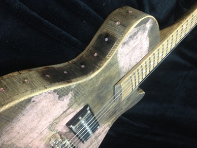 Breast Cancer Awareness Tribute Bourbon Barrel Guitar