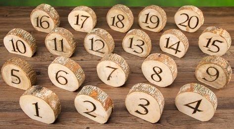 Wood Stump Table Numbers