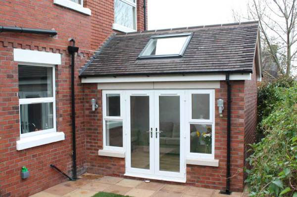 brick built extension built by our brick layers using old bricks and slates