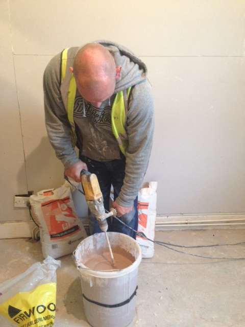 mixing multi plaster for plasterboard