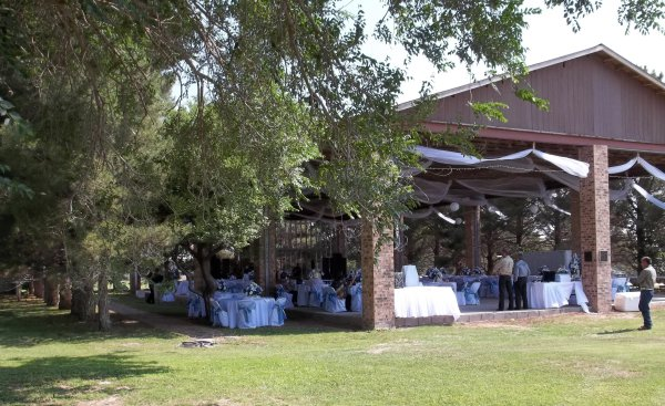 Fall wedding in open air tabernacle
