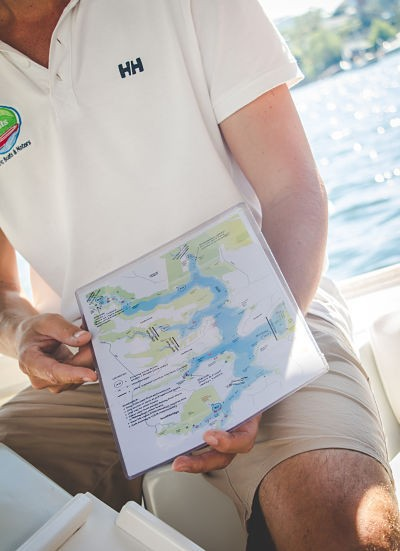 Eco Boats Hire explaining the routes aound Middle Harbour which include Bantry Bay, Sugar Loaf Bay, Roseville Bridge Marina and The Spit all in Sydney Harbour