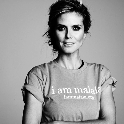 Heidi Klum in support of Malala Yousafzai