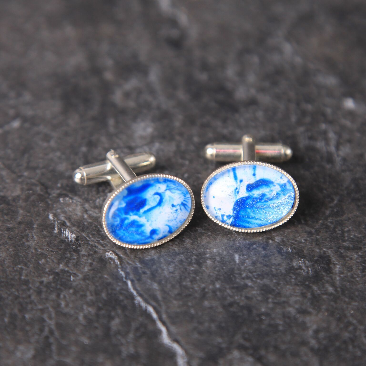 Unique Handmade Blue silver cuff links