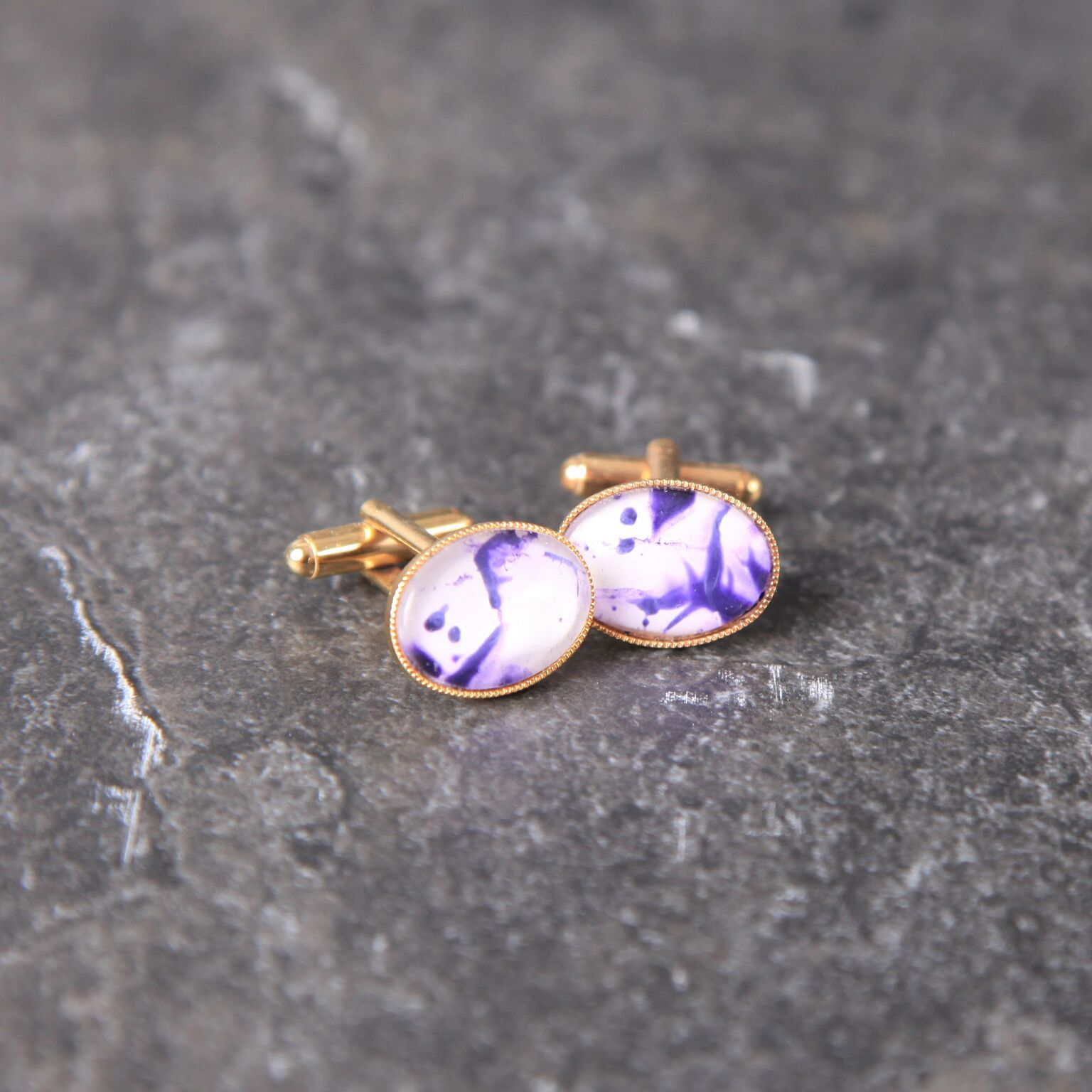 Unique Handmade Purple marble effect gold plated cuff links