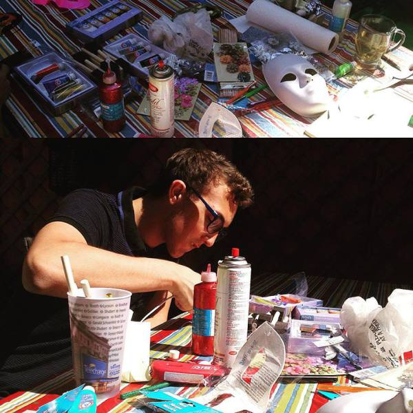 Bruno making some masks