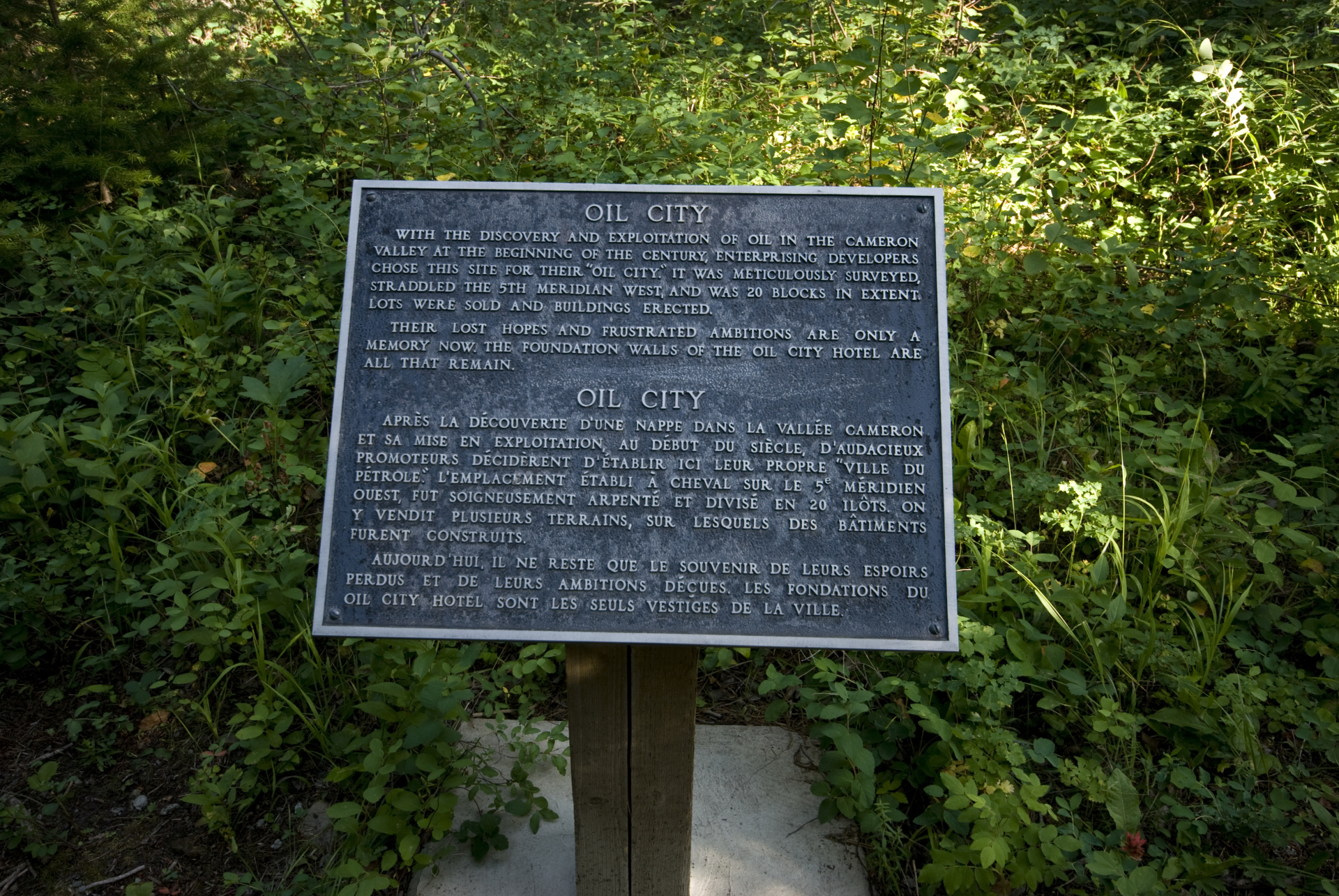 Plaque marking the location of Oil City