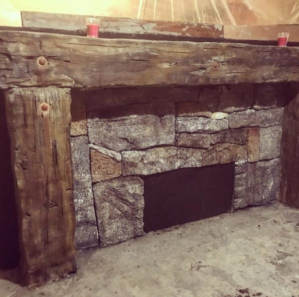 New England Granite Fireplace w/Timber Mantle