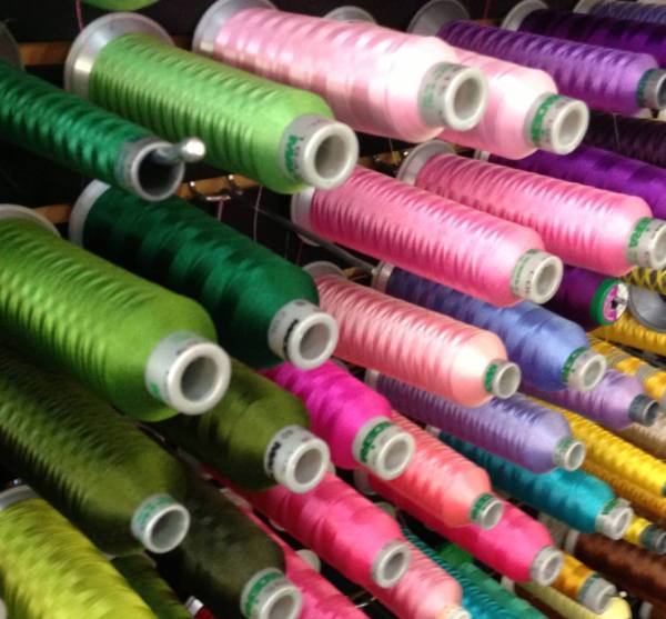 Thread, embroidery, PMS, colors, polyester, rayon, white, red, black, yellow, gold, pink, Knoxville, TN, USA, Farragut, Powell, Oak Ridge, Tennessee, School, Uniform,