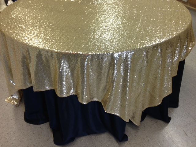 """Light Gold Sequin Overlay 90"""" square"""