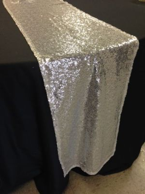 Sequin Mesh Runner - Silver