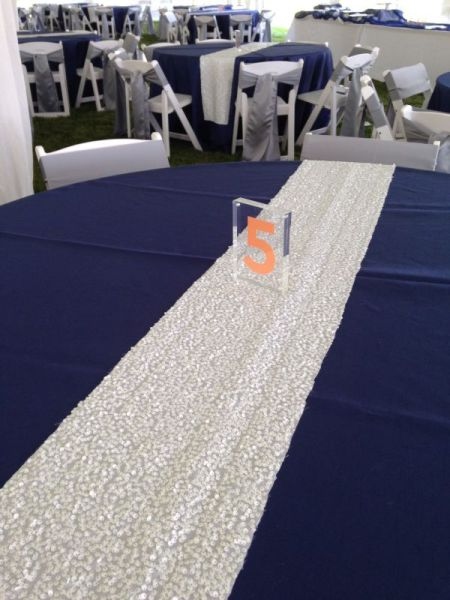 White - Large Sequin Table Runner