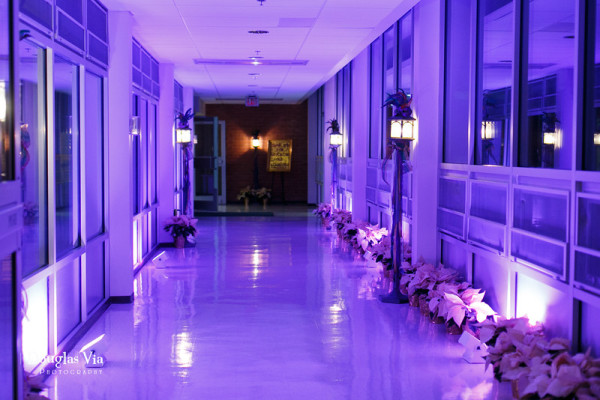 Purple uplight hallway