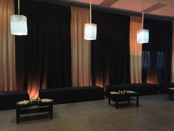 Fabric chandeliers lounge at Frederick Eventplex