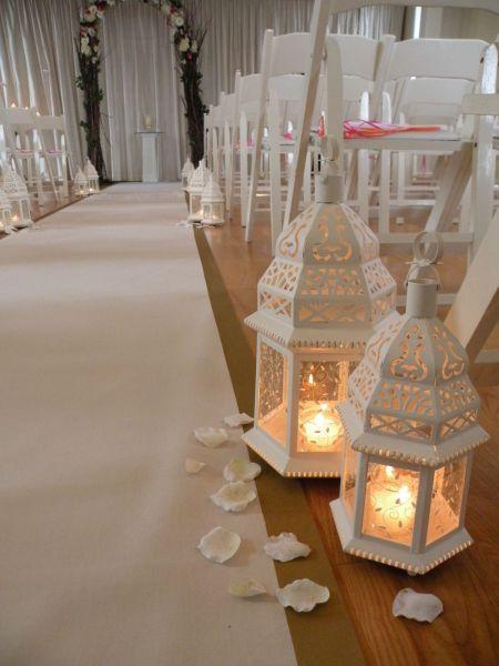 white lantern ceremony aisle