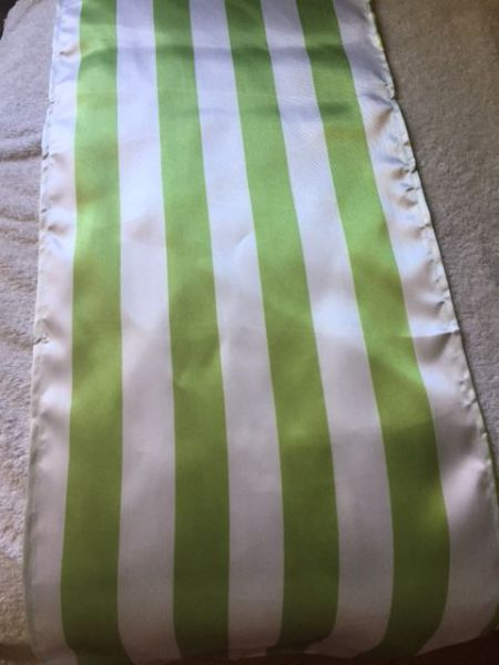 Chartreuse Green & White Satin Runner