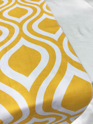 yellow print table runner