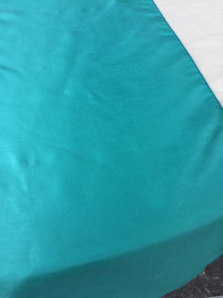 Tiffany blue dupioni table runner