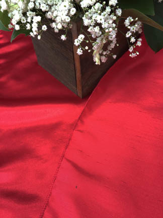 red dupioni table runner