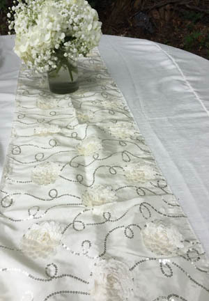 ivory taffeta flower table runner