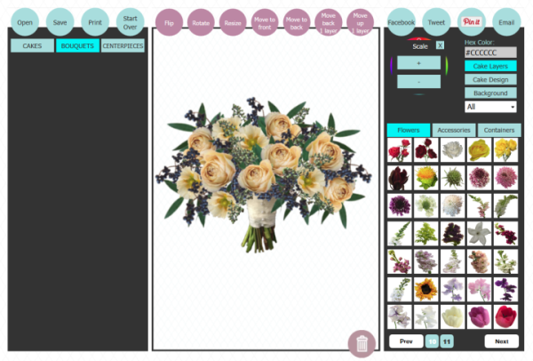 create a virtual wedding bouquet