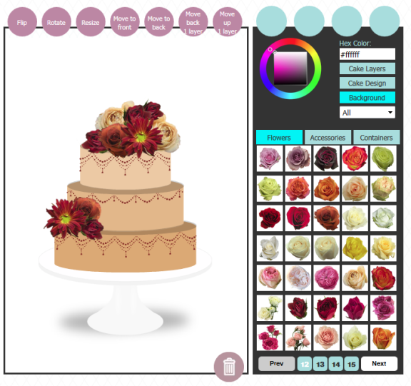 Create a virtual wedding cake