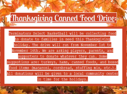 Thanksgiving Canned Food Drive