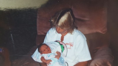 My mother holding baby Forrest